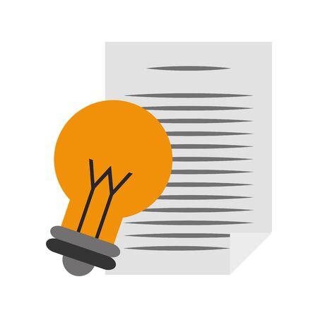 paper page and bulb light icon over white background, vector illustration