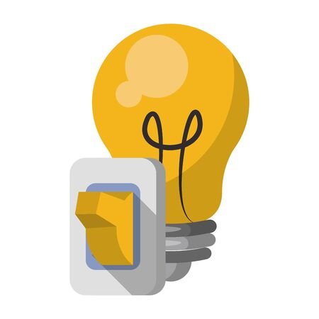 Bulb light with switch cartoon isolated vector illustration graphic design
