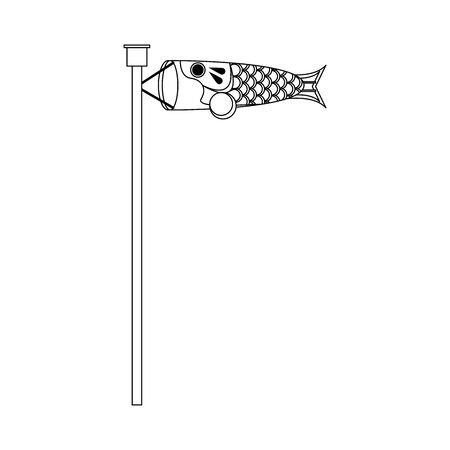 Japanese Koinobori fish carp flag icon over white background, vector illustration