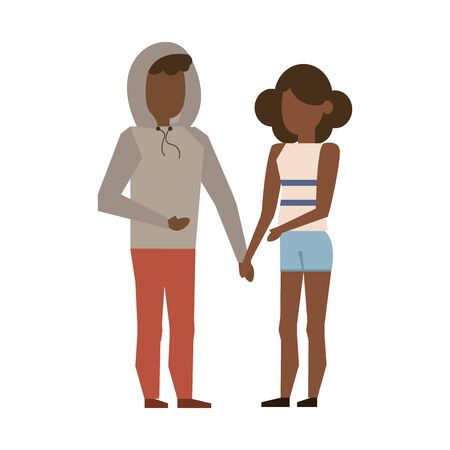 couple love young afro relationship partnership cartoon vector illustration graphic design