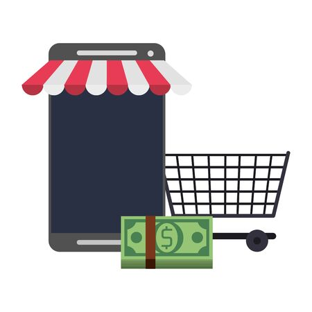 Online shopping and payment smartphone store and cash with cart symbols vector illustration graphic design