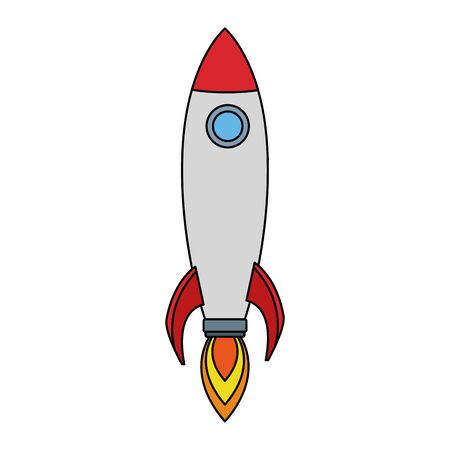 space rocket icon over white background, colorful design. vector illustration 向量圖像