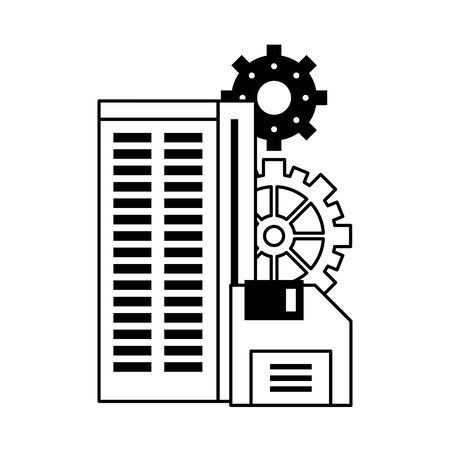 technology hardware server tower and diskette support and maintenance cartoon vector illustration graphic design