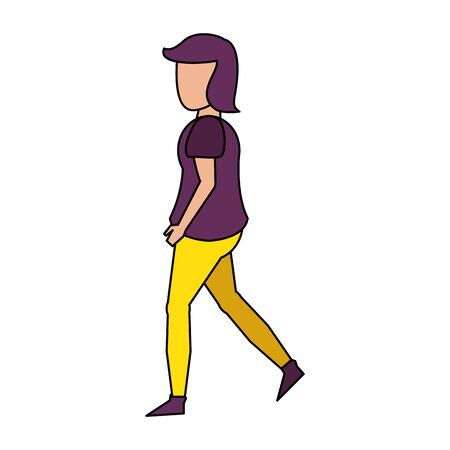 young woman body without face wearing purple blouse cartoon vector illustration graphic design Archivio Fotografico - 133772113