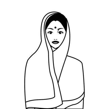 indian asian religion oriental culture, young woman cartoon vector illustration graphic design