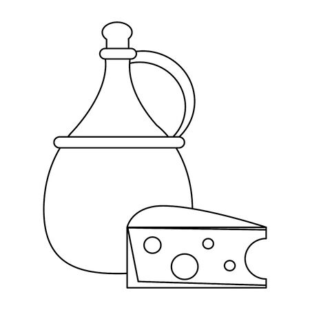 jug of wine and piece of cheese over white background, vector illustration Illustration