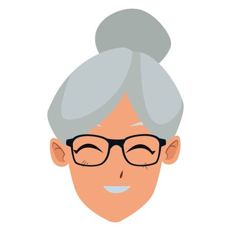 old woman smiling and happy portrait isolated vector illustration graphic design Ilustrace