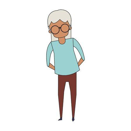 grandparent senior old retirement grandmother wearing glasses cartoon vector illustration graphic design