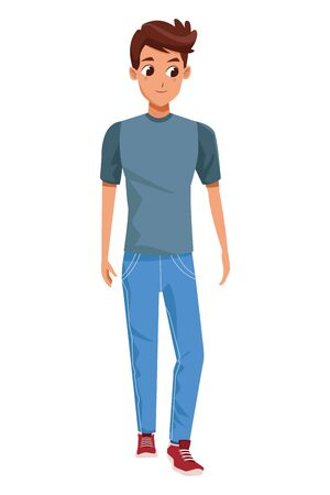 Young man smiling with casual clothes vector illustration graphic design.