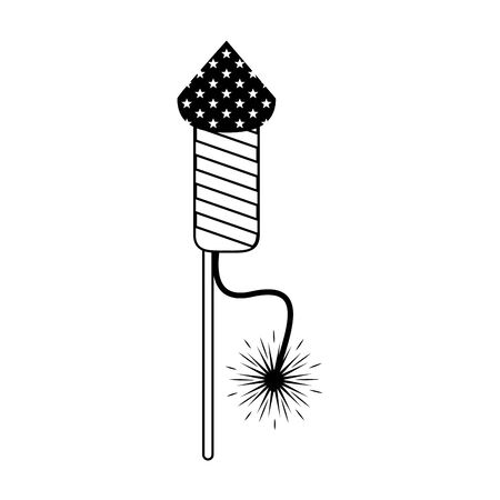 usa american independence 4th july patriotic happy celebration united states firework rocket isolated cartoon vector illustration graphic design