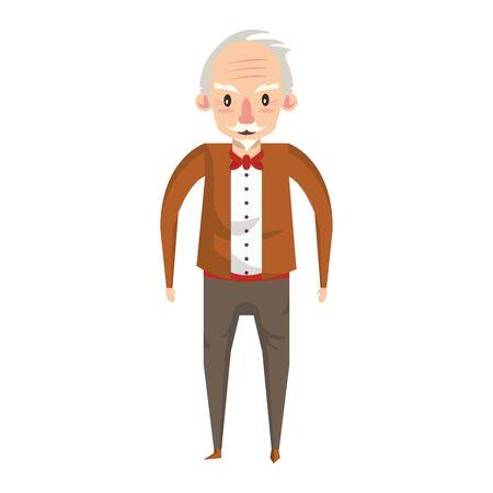 grandparent senior old retirement grandfather cartoon vector illustration graphic design Çizim