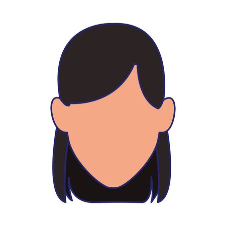 avatar woman face icon over white background, colorful design. vector illustration