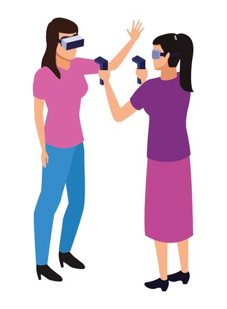 virtual reality technology, young women living a modern digital experience with headset glassesand joysticks cartoon vector illustration graphic design