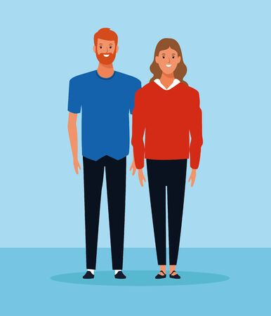 cartoon woman and man standing and wearing casual clothes over pink background, colorful design. vector illustration