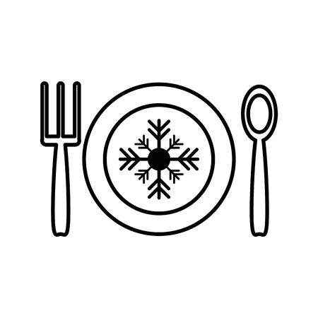 happy merry christmas dish with snowflake and cutlery vector illustration design