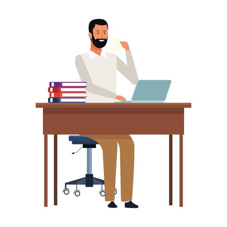 cartoon businessman at a desk icon over white background, colorful design. vector illustration 向量圖像