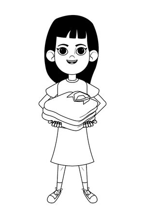 little kid girl carrying stacked folded shirts avatar cartoon character portrait isolated black and white vector illustration graphic design