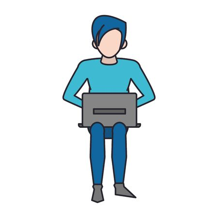 avatar man using a laptop over white background, vector illustration