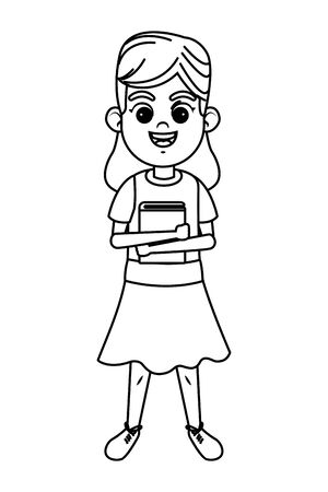 young kid girl wearing a dress and holding a book avatar carton character in black and white vector illustration graphic design Ilustração