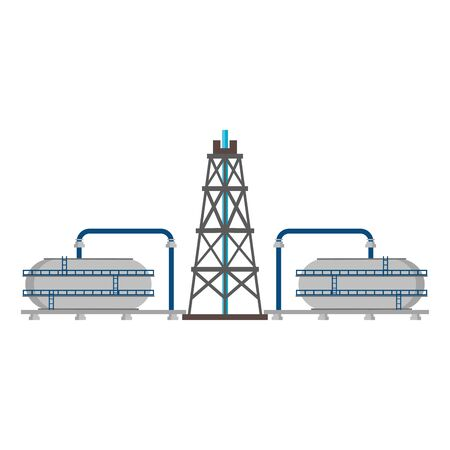 oil refinery gas factory industry petrochemical petroleum oil rig plant and destillation tanks cartoon vector illustration graphic design Ilustrace