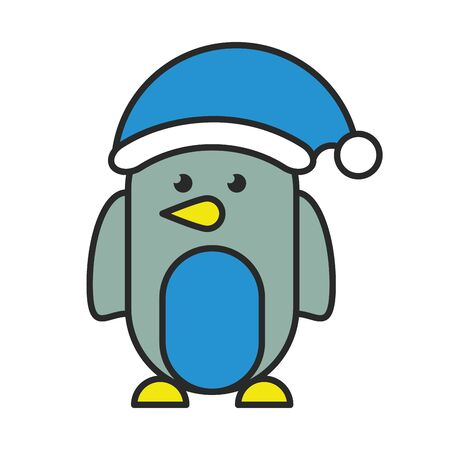 cute penguin with christmas hat character vector illustration design Banque d'images - 133780607