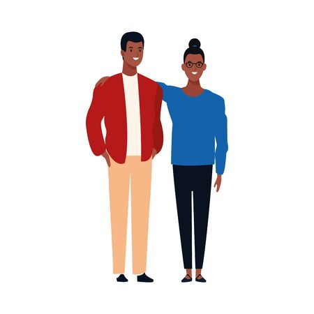 cartoon couple standing icon over white background, flat desing, vector illustration