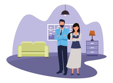 Two business partners working, executive entrepreneur teamwork inside house with furniture scenery vector illustration graphic design. Ilustração
