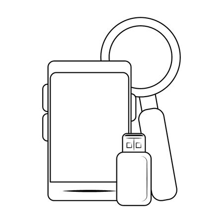 smartphone with usb and magnifying glass over white background, vector illustration Çizim