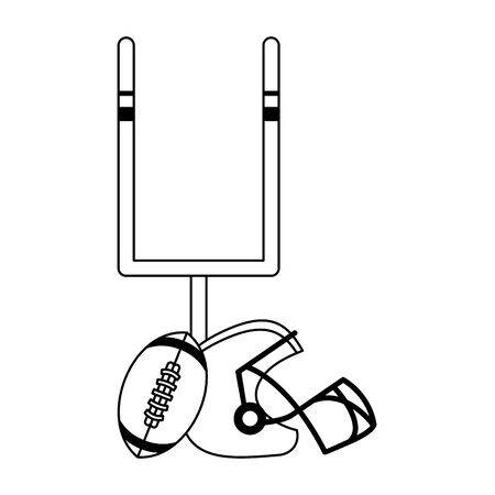 american football sport game goal post with ball and helmet cartoon vector illustration graphic design 일러스트