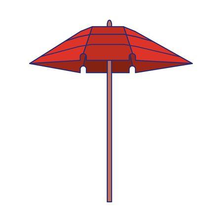 Parasol plażowy kreskówka na białym tle symbol wektor ilustracja projekt graficzny