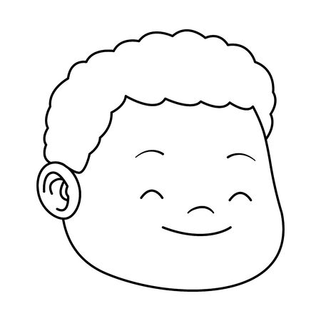 cartoon boy with curly hair icon over white background, vector illustration Ilustração