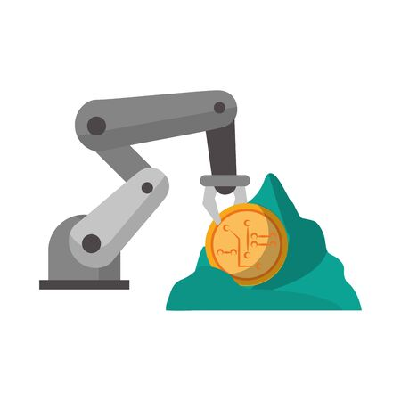 Cryptocurrency minin with hydraulic arm and rock cartoon vector illustration graphic design Ilustrace