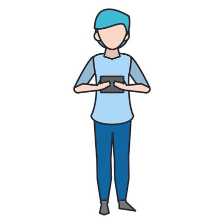 avatar man using a smartphone over white background, vector illustration