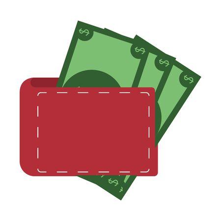 saving money finance banking wallet with bills cartoon vector illustration graphic design