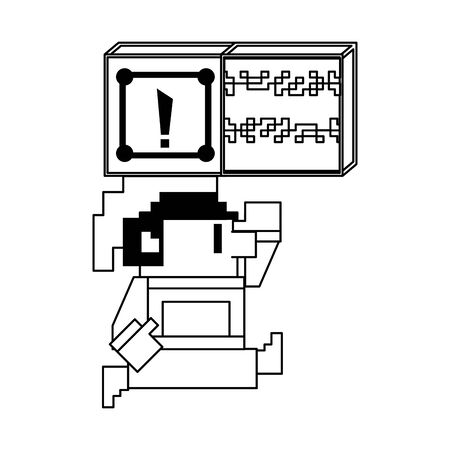 Videogame elf character jumping to suprise box pixelated isolated vector illustration graphic design