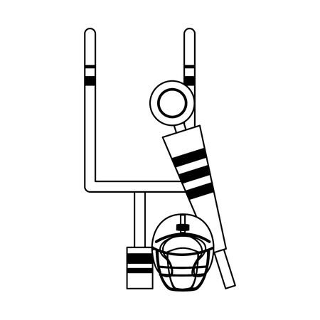 american football sport game goal post with helmet and sideline cartoon vector illustration graphic design 일러스트