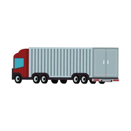 Cargo truck with container back view vector illustration Ilustrace