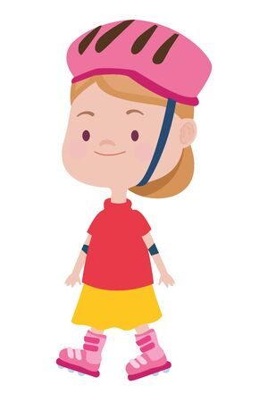 cute little girl with skates character vector illustration design Ilustrace