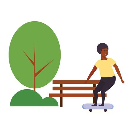 Young man on skateboard at park cartoon isolated vector illustration graphic design