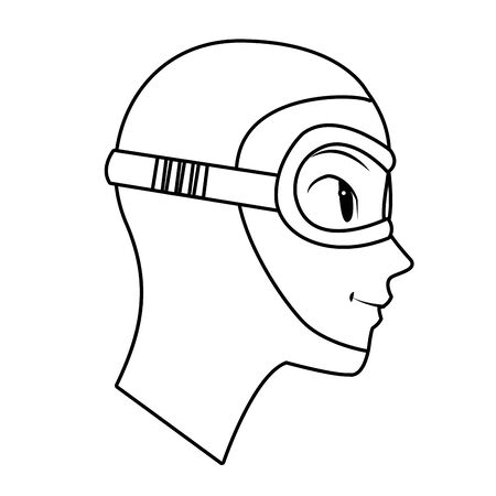 man with snorkel scuba diving avatar cartoon character in black and white vector illustration graphic design Ilustração