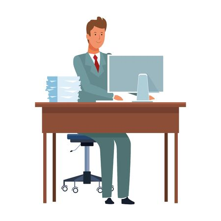 cartoon businessman working at desk over white background, flat design. vector illustration