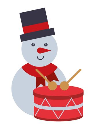 merry christmas snowman with drum vector illustration design