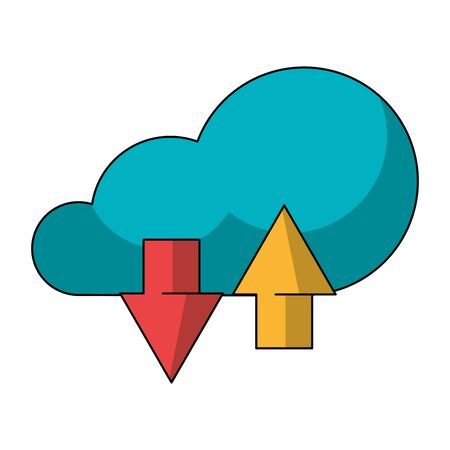 Cloud computing technology symbol isolated download and upload vector illustration graphic design