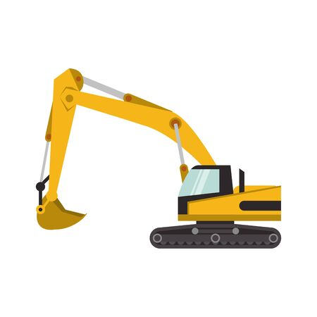 Construction excavator vehicle machine isolated vector illustration graphic design