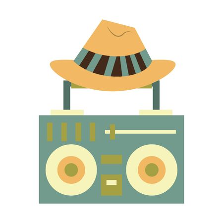 stereo and hat holidays symbols isolated Vector design illustration 일러스트
