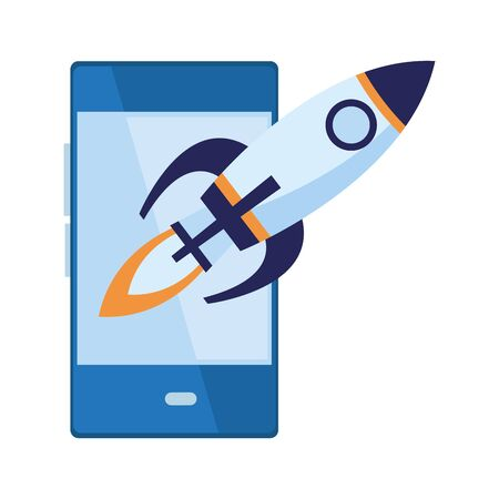 cellphone communication mobile with rocket and fire in the back size icon cartoon