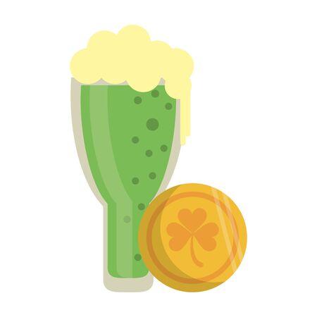 saint patricks day irish tradition golden coin with green beer cartoon vector illustration graphic design