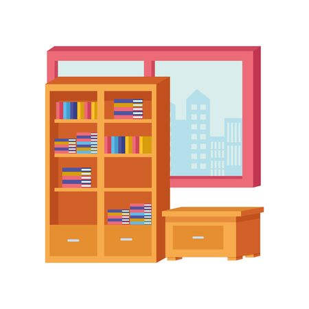 Office and workplace library and drawer with windows cityscape view elements cartoons ,vector illustration graphic design. 일러스트