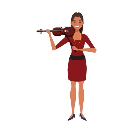 cartoon woman playing a violin over white background, colorful design. vector illustration