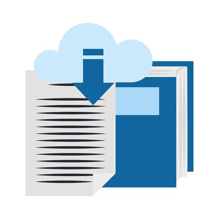 book and document page with cloud storage icon over white background, vector illustration